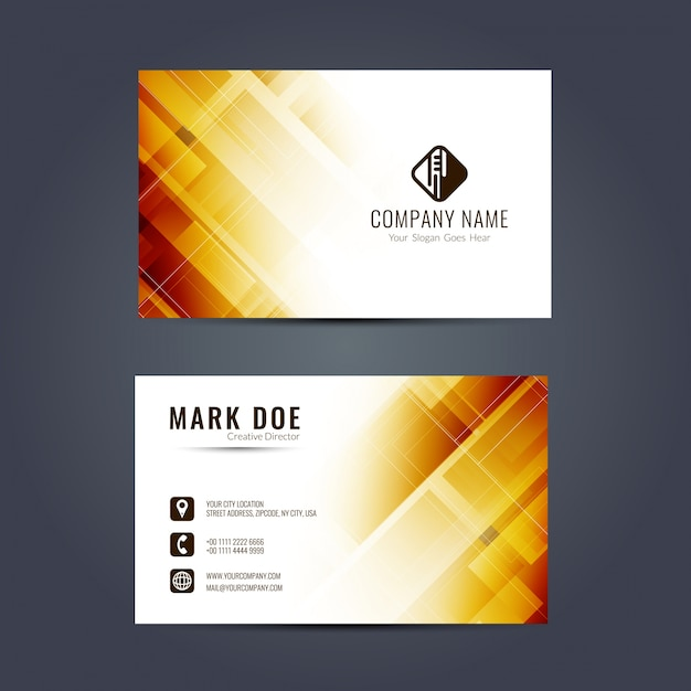 Business card with yellow geometric shapes Free Vector