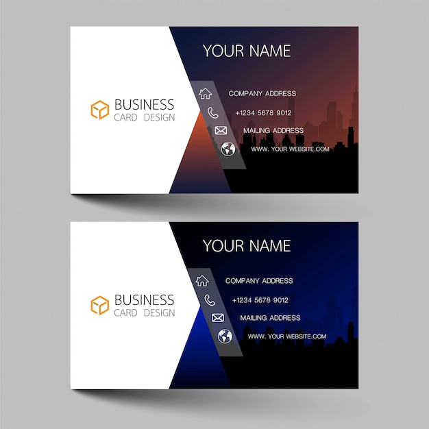 Business cards design two color on the gray background. Premium Vector