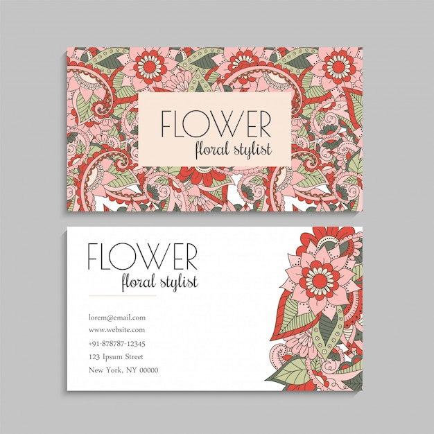 Business cards template hand drawn flowers Free Vector