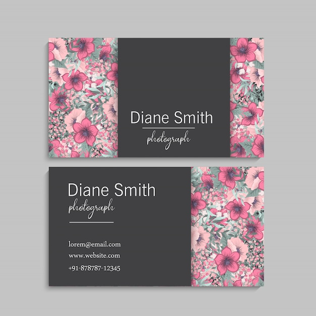 Business cards template pink flowers Free Vector