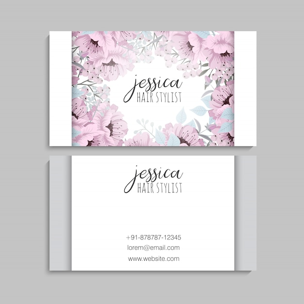 Business cards template pink flowers Premium Vector