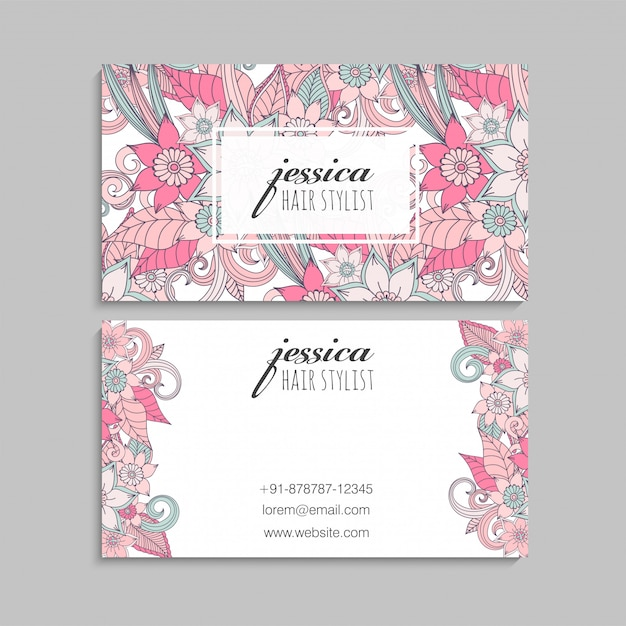 Business cards template pink hand drawn flowers Free Vector
