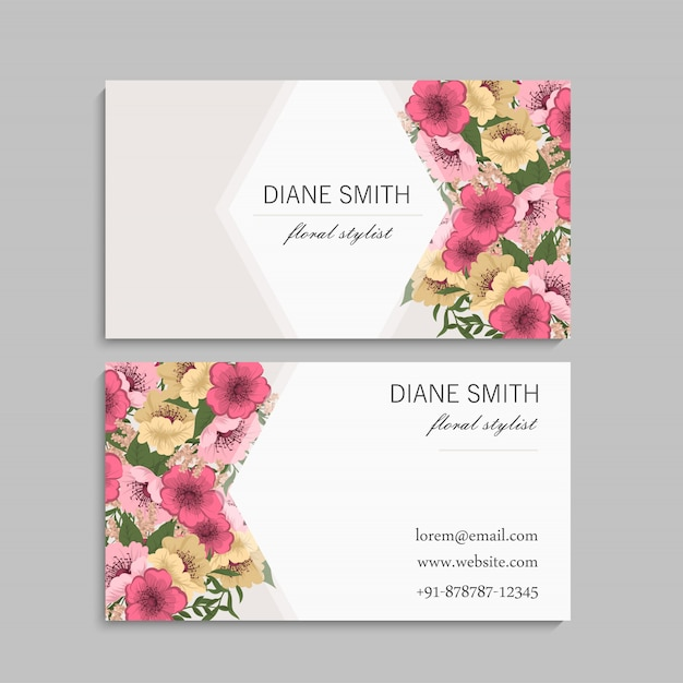 Business cards template pink and yellow flowers Free Vector