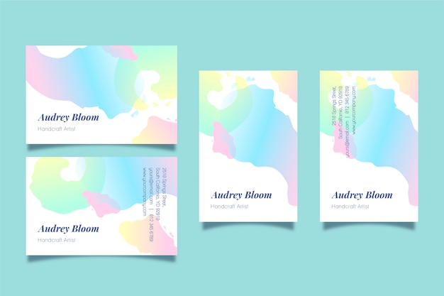 Business cards template with abstract pastel stains Free Vector