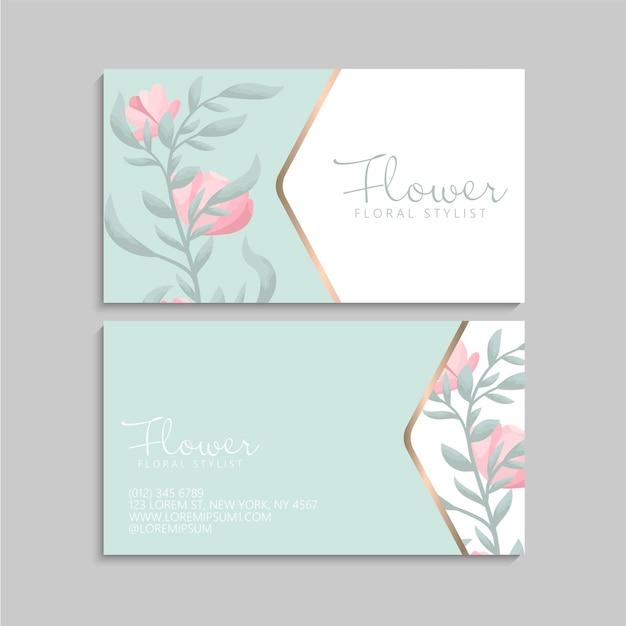 간단한 핑크 꽃 명함 서식 파일 프리미엄 벡터