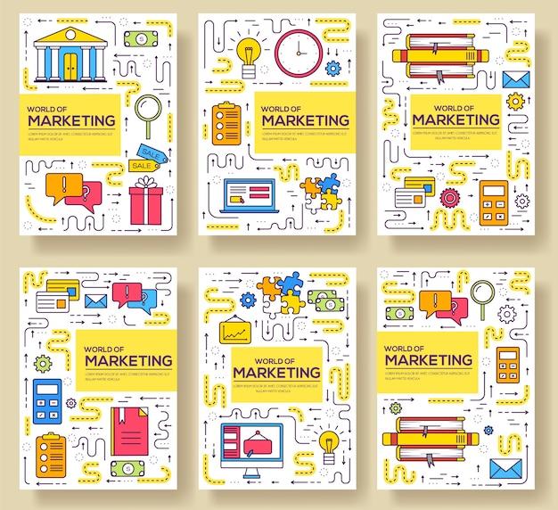 名刺細線セット。 flyear、雑誌、ポスター、本の表紙、バナーのマーケティングテンプレート。 Premiumベクター