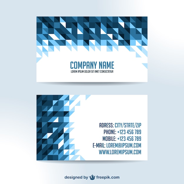 Business cards triangle design Free Vector
