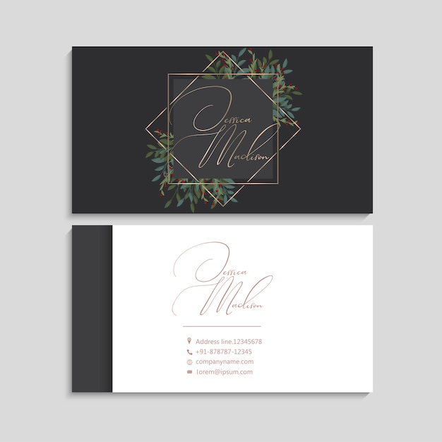Business cards white and black   red berries Free Vector