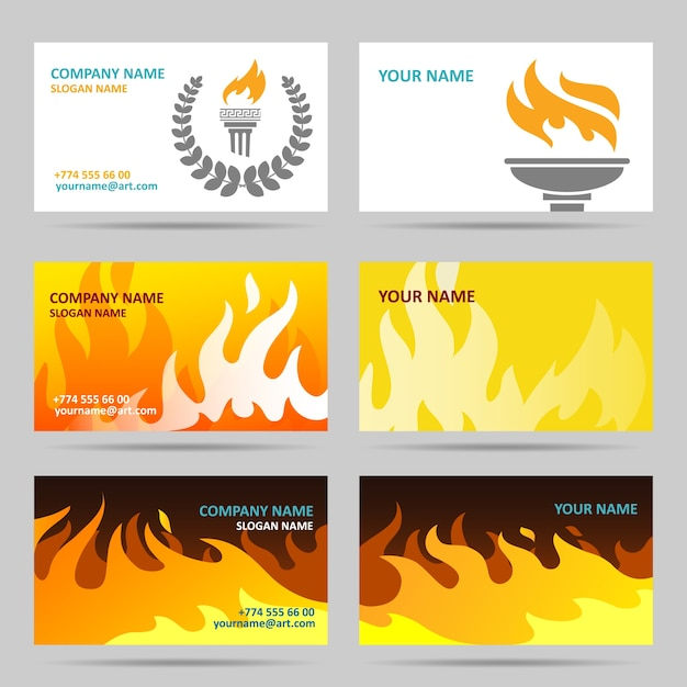 Business cards with fire
