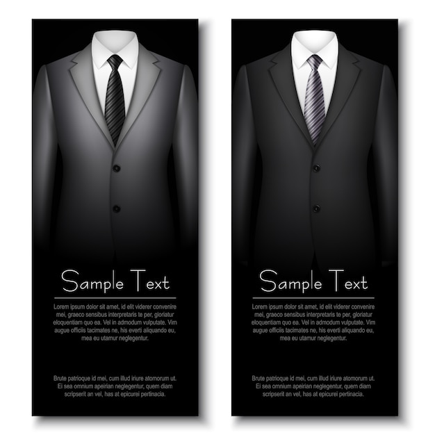 Business cards with grey and black elegant suits. Premium Vector