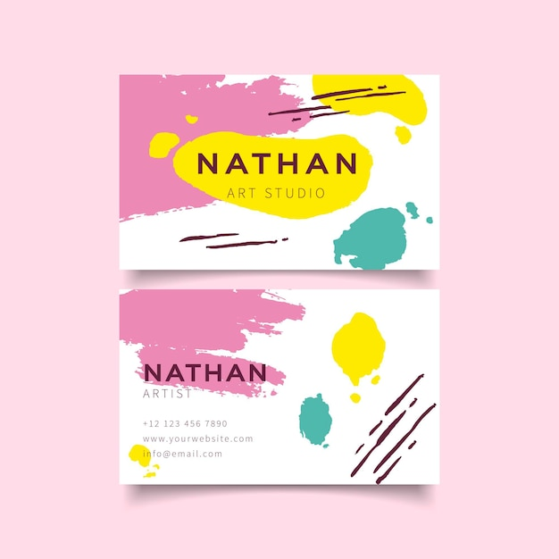 Business cards with hand painted template Free Vector