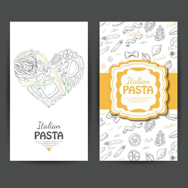 Business cards with italian pasta Premium Vector