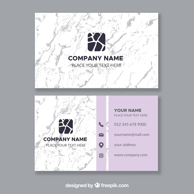 Business cards with marble texture Free Vector