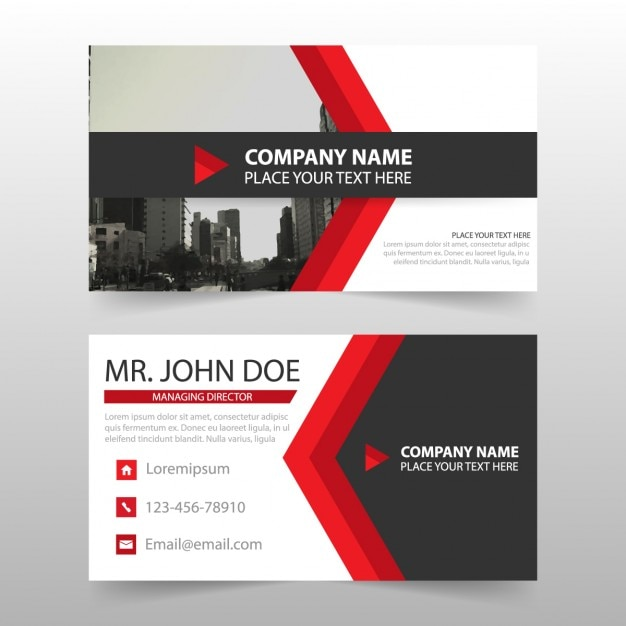 Business cards with red arrow shapes vector free download business cards with red arrow shapes free vector colourmoves