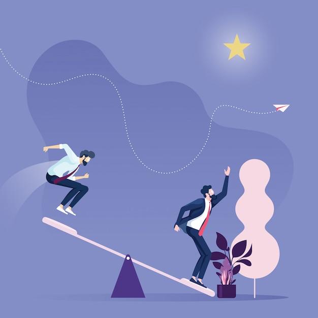 Business career growthbusiness team using springboard to reach star Premium Vector