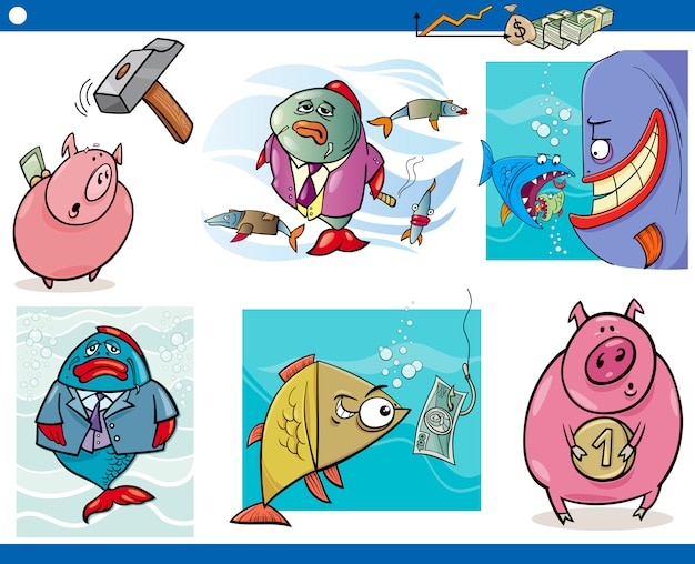 Business cartoon concepts set Premium Vector