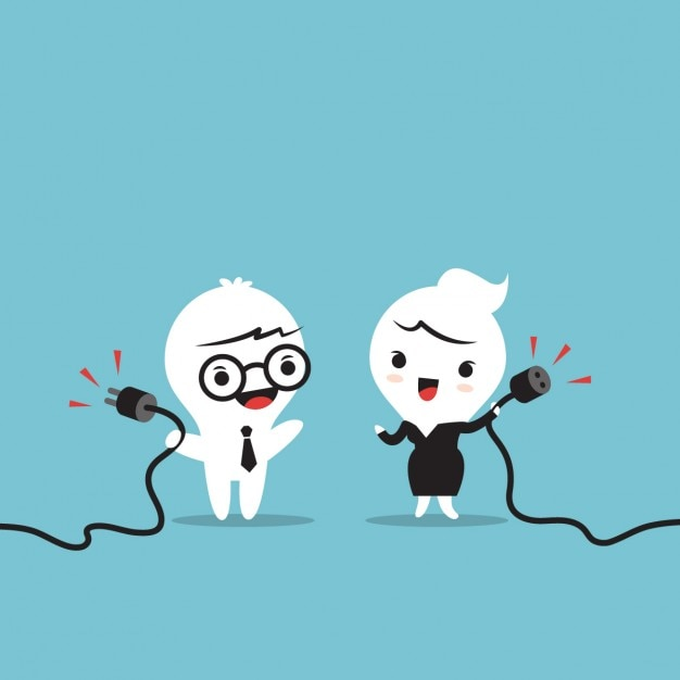 Business cartoon with a plug Free Vector