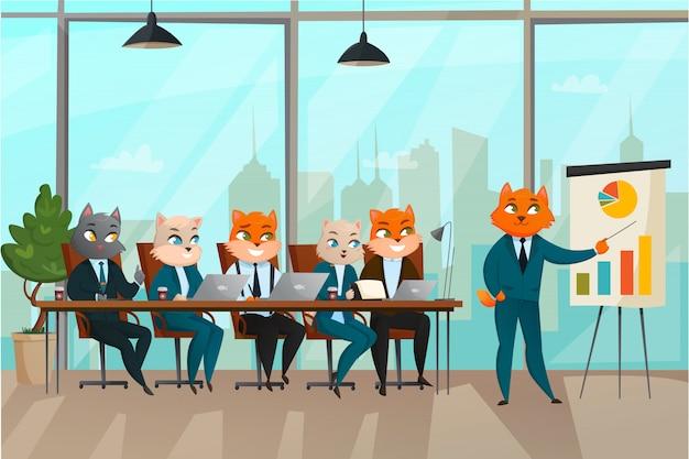 Business cat presentation Free Vector