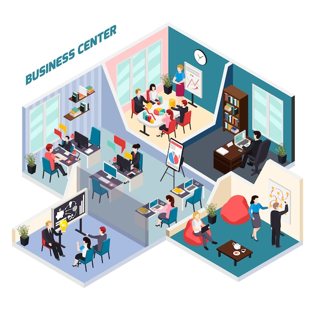 Business center isometric composition Free Vector