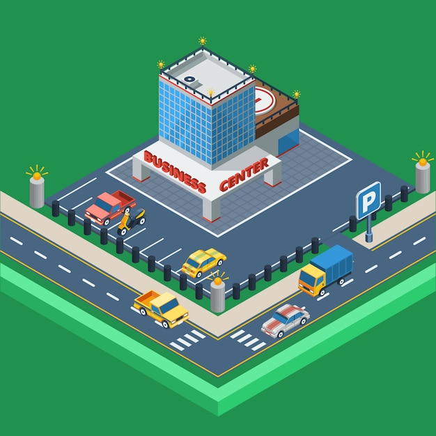 Business center isometric illustration Free Vector