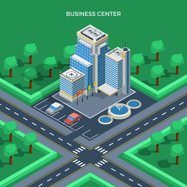 Business center isometric top view concept Free Vector