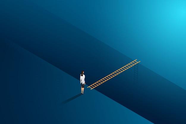 ビジネスチャレンジの実業家立っている思考は、目標の成功へのはしごクロスを見てください。図 Premiumベクター
