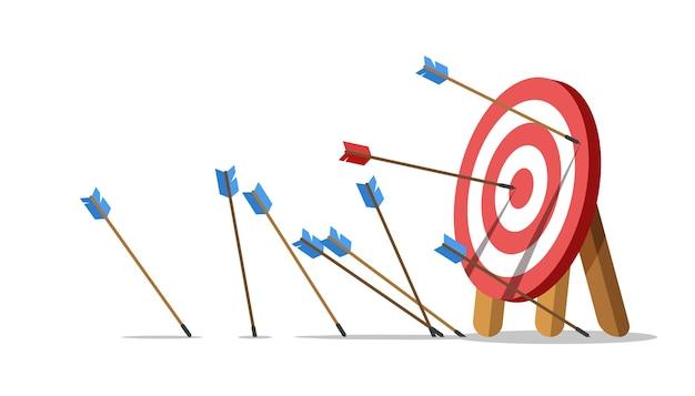 Провал бизнес-задачи. стрелки не попали в цель, и только одна попала в центр. Premium векторы
