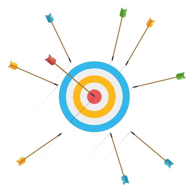 Бизнес-концепция отказа. многие стрелы не попали в цель, и только одна попала в центр. промах по выстрелу. неудачные неточные попытки поразить цель для стрельбы из лука. Premium векторы