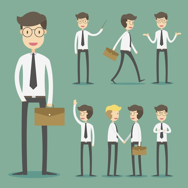 Business character collection Free Vector