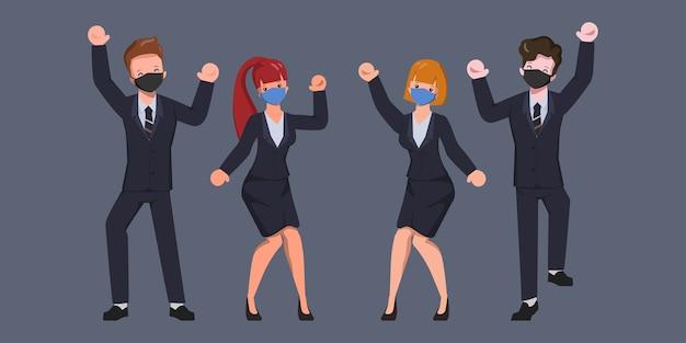 フェイスマスクを着ているビジネスキャラクターの人々陽気なチームワーク。 Premiumベクター