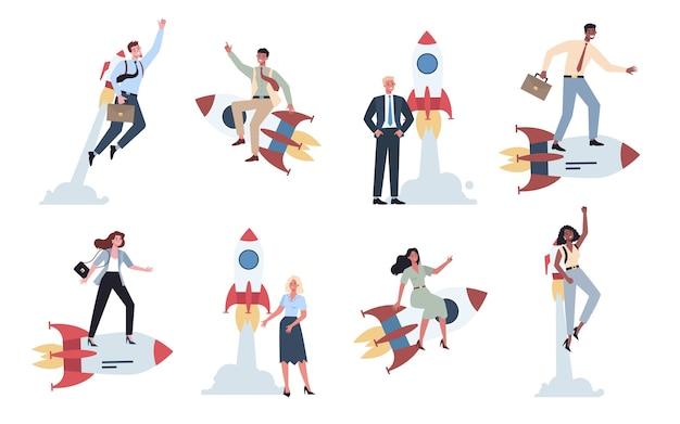 ロケットセットの近くに立って乗っているビジネスキャラクター。スタートアップのコンセプト。事業開発。テストとマーケティングのアイデア。創造的思考。 Premiumベクター