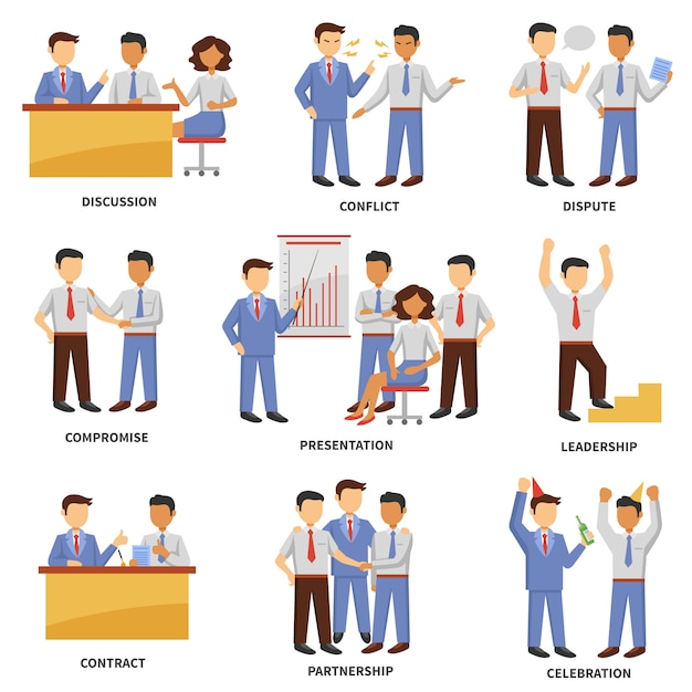 Business character set Free Vector