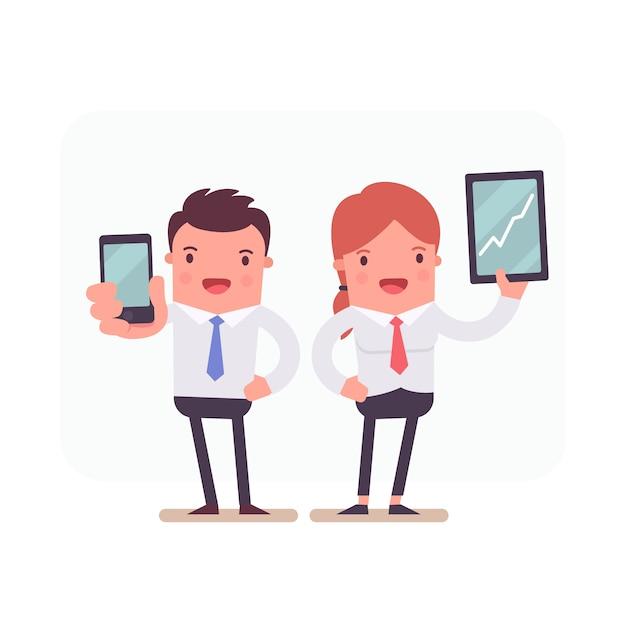 Business characters holding smartphone and tablet Free Vector