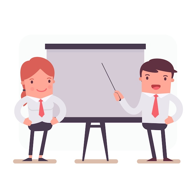 Business characters in a presentation Free Vector