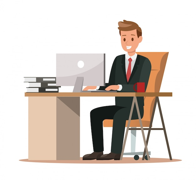 Business characters working in office Premium Vector