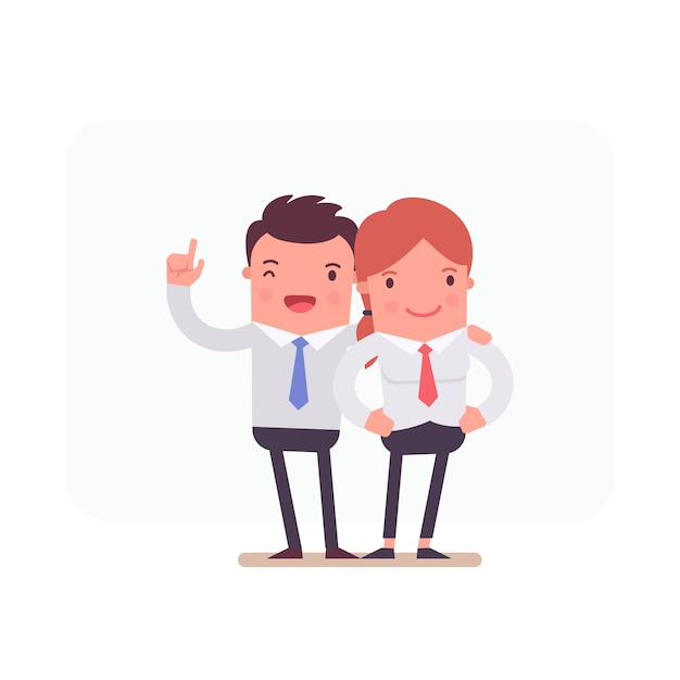 Business characters working together Free Vector