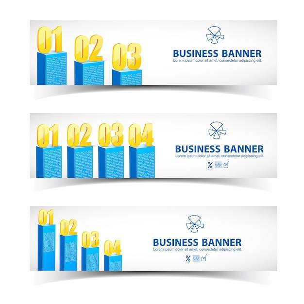 가로 배너 파란색 그래프 골드 숫자와 고립 된 텍스트에 대 한 장소 비즈니스 차트 인포 그래픽 무료 벡터