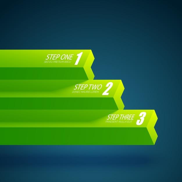 Шаблон бизнес-диаграммы с тремя шагами Бесплатные векторы