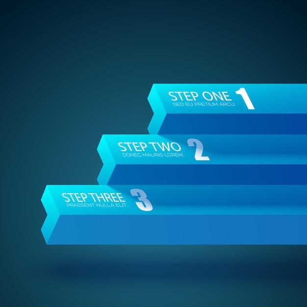 Modello di grafico aziendale con tre passaggi Vettore gratuito