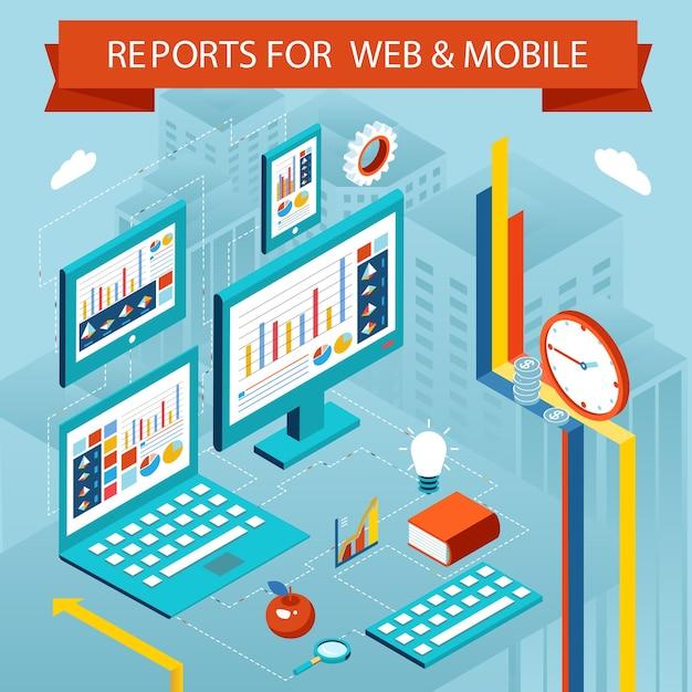 Webページとモバイルアプリのビジネスチャートとレポート。フラットアイソメトリックベクトルグラフの概念、グラフィック図画面 無料ベクター