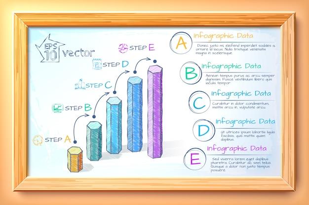 ビジネスグラフインフォグラフィックスケッチカラフルなグラフ5つのオプションテキストと木製フレームの図のアイコン Premiumベクター