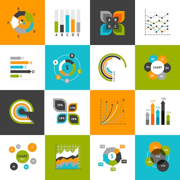 Business charts set Free Vector