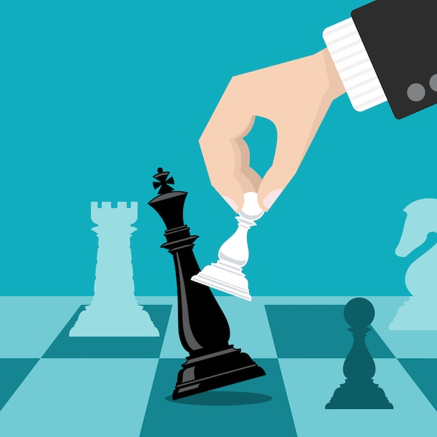 Business checkmate strategy vector concept with hand holding chess pawn knocking down king Premium Vector