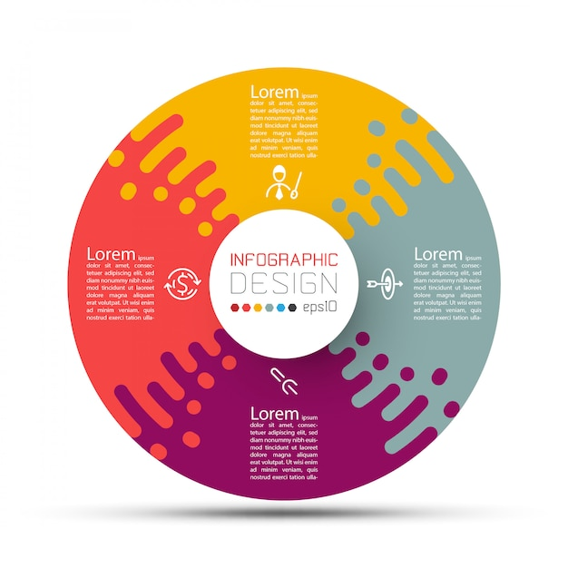 Business circle labels shape infographic with four steps Premium Vector