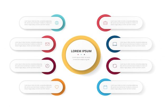 パンフレット、図、ワークフロー、タイムライン、webデザインのための8つのオプションを持つビジネスサークルテンプレート。プレゼンテーションインフォグラフィック要素 Premiumベクター