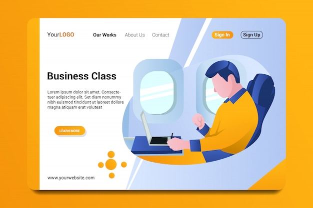 Business class landing page background. Premium Vector