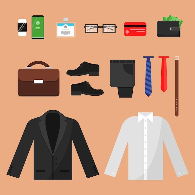 ビジネス服。オフィスマネージャーの男性パンツシャツ時計ベルトソックスと分離された他のトップビューアイテムのファッション Premiumベクター