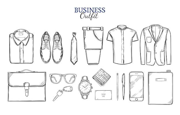 Набор эскизов деловой одежды Бесплатные векторы