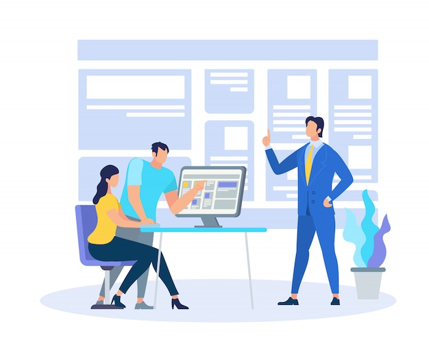 Business coach demonstrating learning information Premium Vector