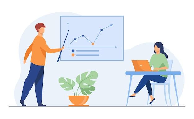 사업가 성장 그래프를 보여주는 비즈니스 코치. 노트북, 교육, 통계 평면 그림. 배너, 웹 사이트 디자인 또는 방문 웹 페이지에 대한 분석 및 관리 개념 무료 벡터